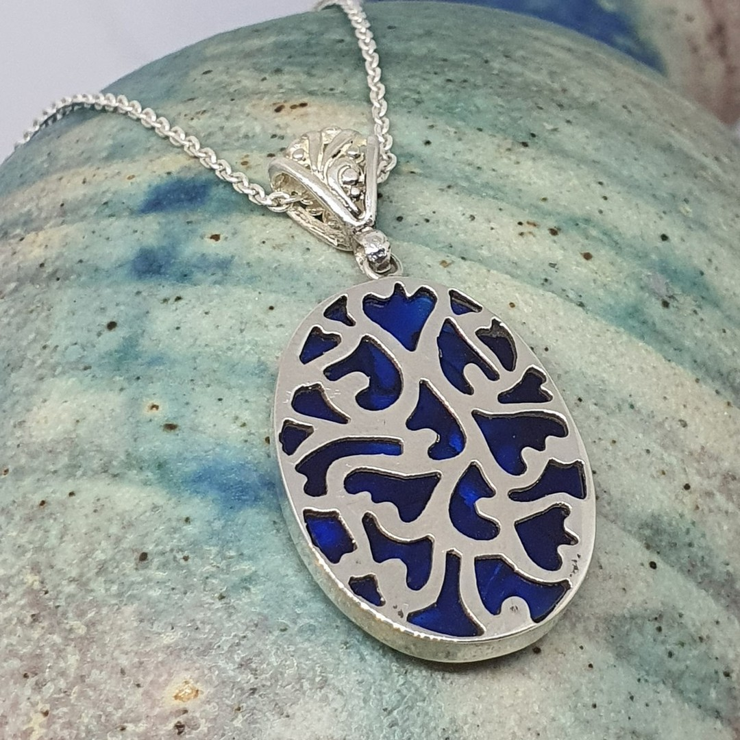 Sterling silver paua shell pendant - dyed blue image 1