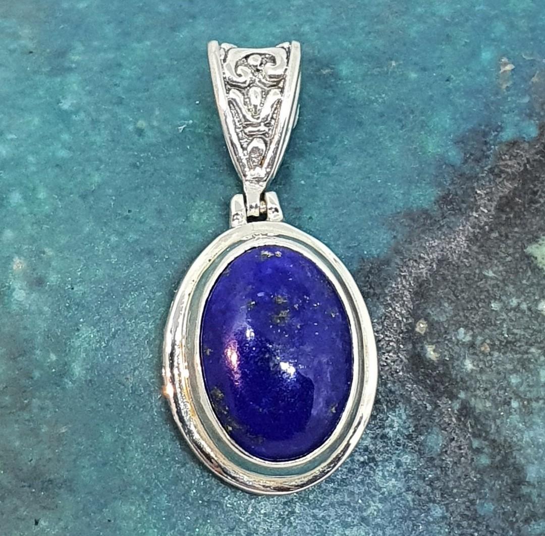 Sterling silver oval lapis lazuli pendant image 0