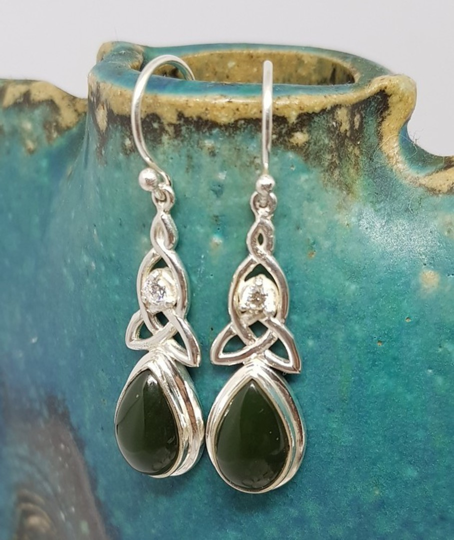 NZ greenstone (pounamu) silver earrings image 0