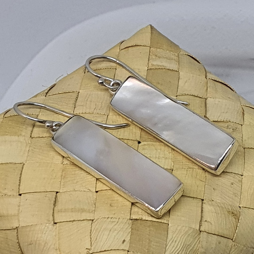 Long rectangle mother of pearl hook earrings image 3