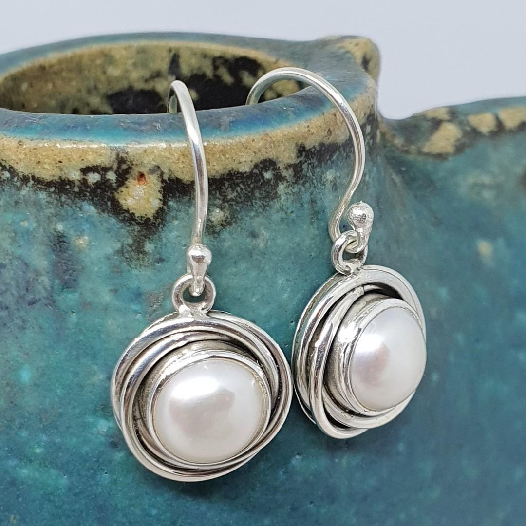 Modern design, silver pearl earrings image 1