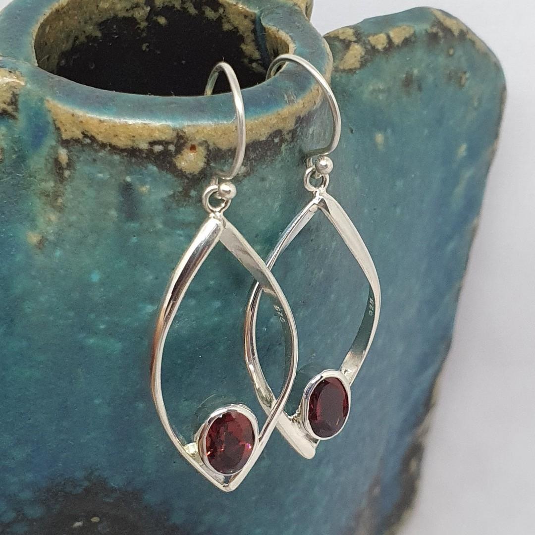 Sterling silver open teardrop earrings with garnet image 1