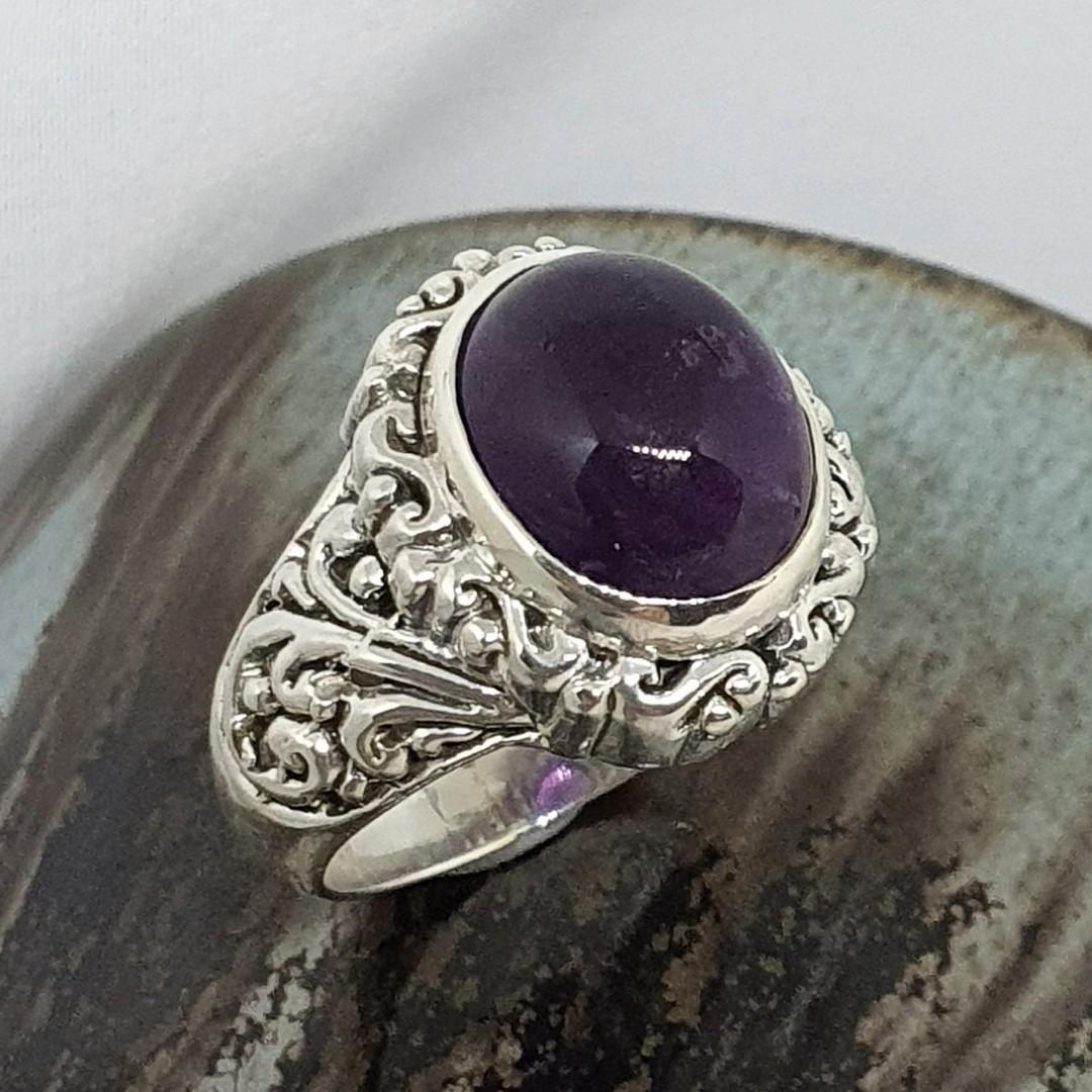Sterling silver oval amethyst gemstone ring image 1