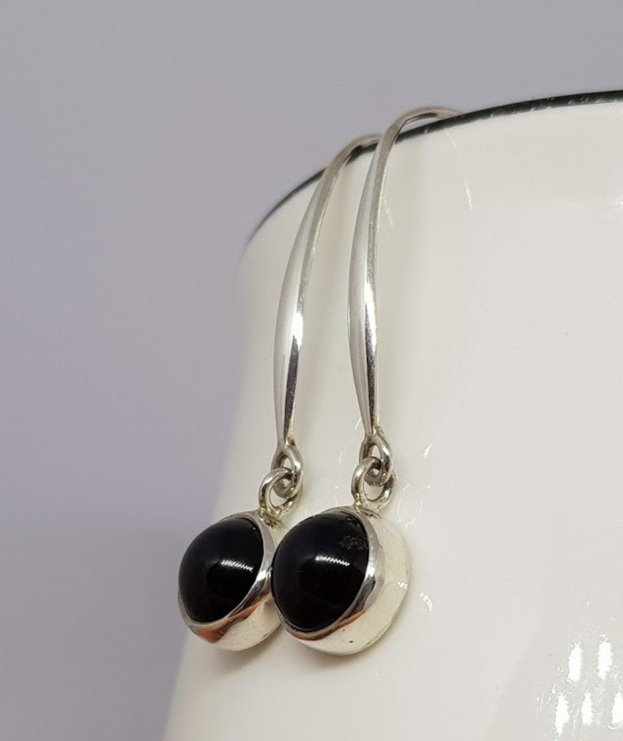 Elegant long hooked black onyx earrings image 0