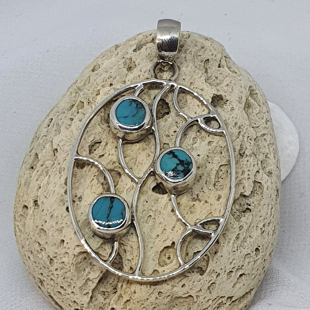 Sterling silver turquoise pendant image 1