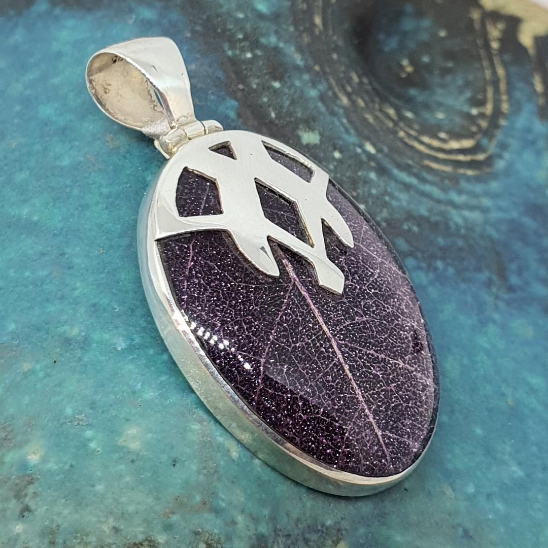 Purple skeleton leaf pendant - framed in solid sterling image 1