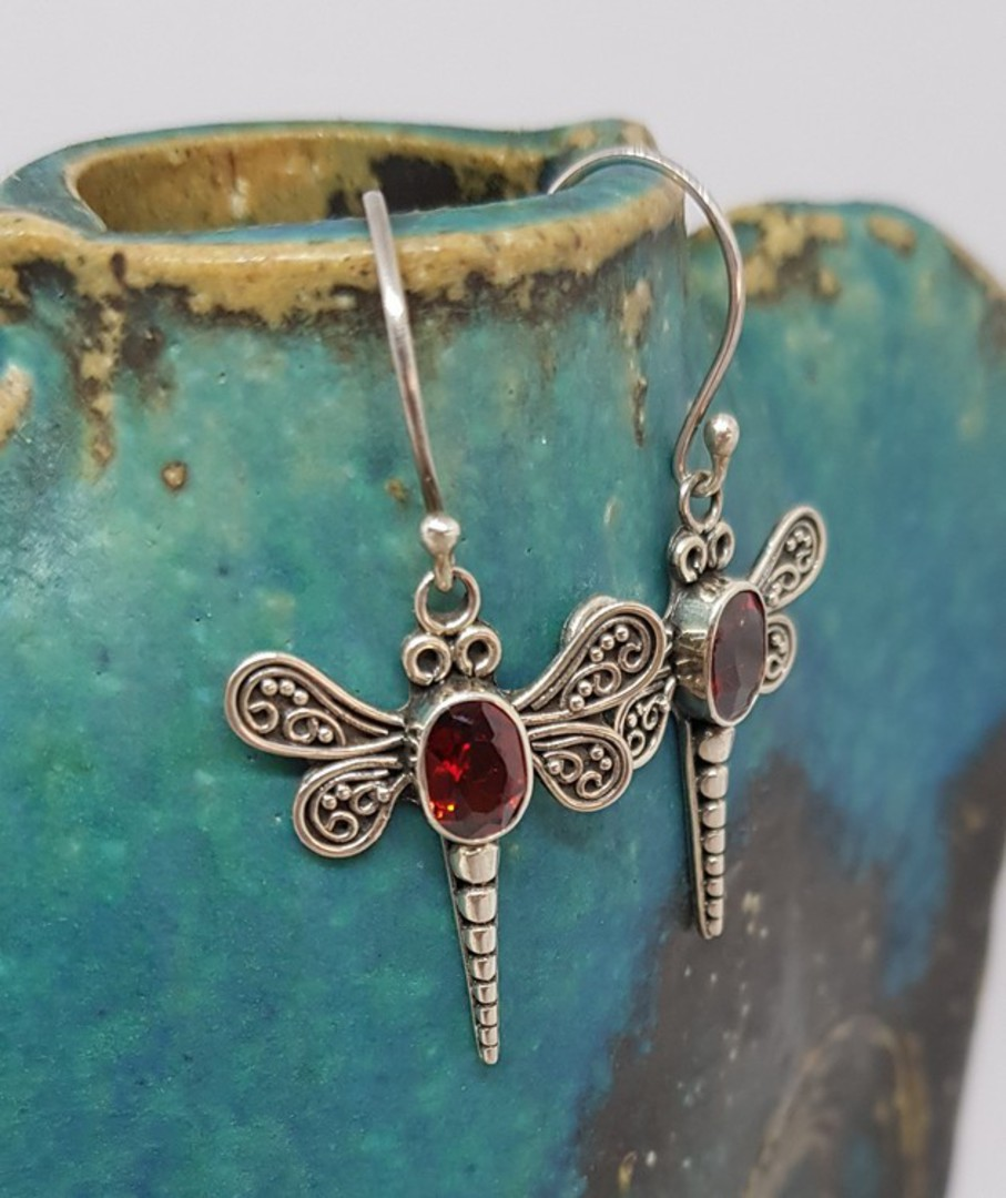 Silver dragonfly earrings with garnet image 0