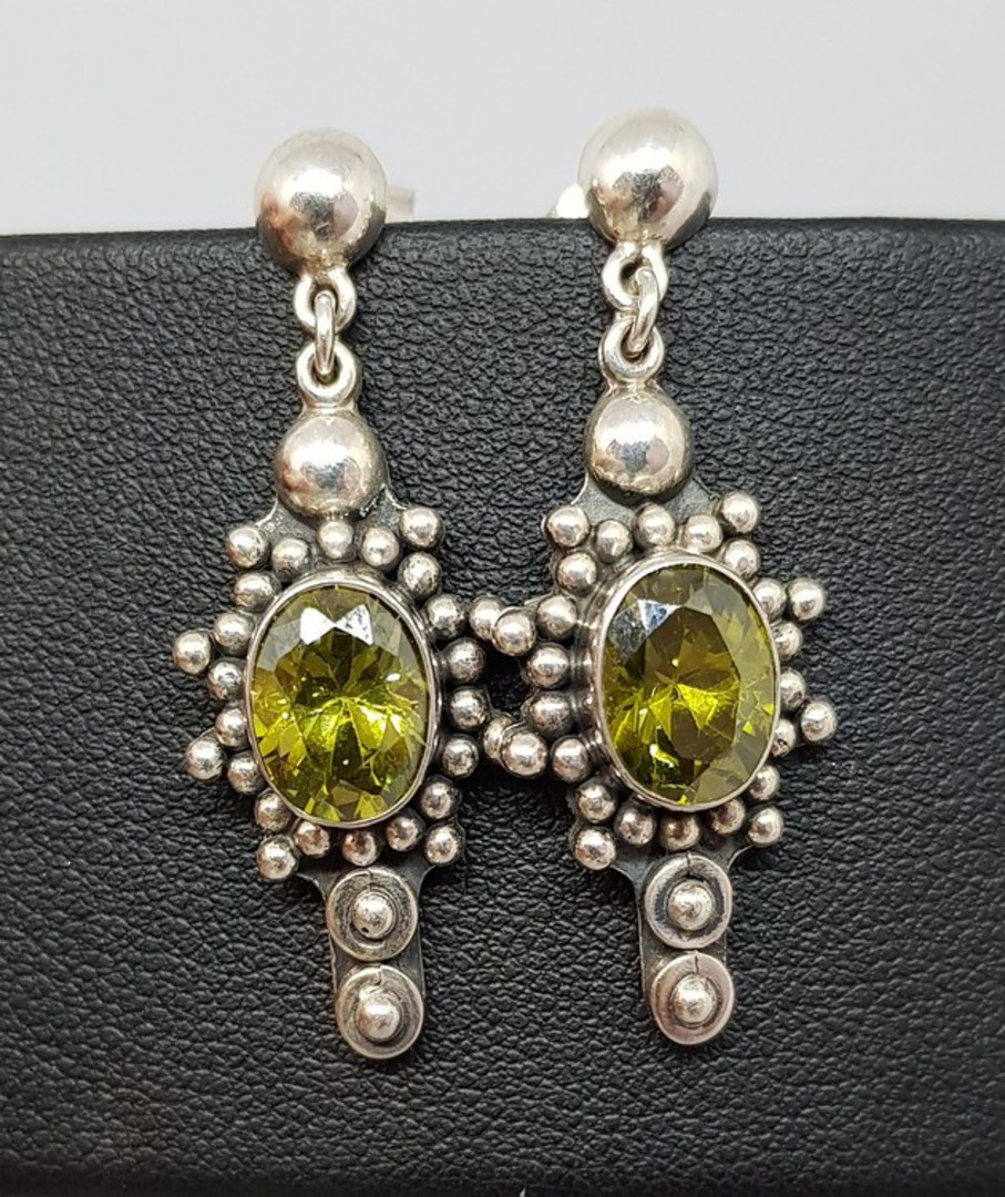 Large ornate silver peridot earrings, stud style image 1