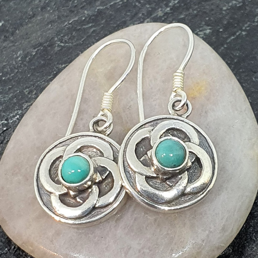 Silver turquoise round flower earrings image 0