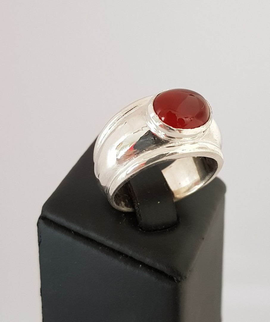 Sterling silver wide band ring with carnelian gemstone image 0