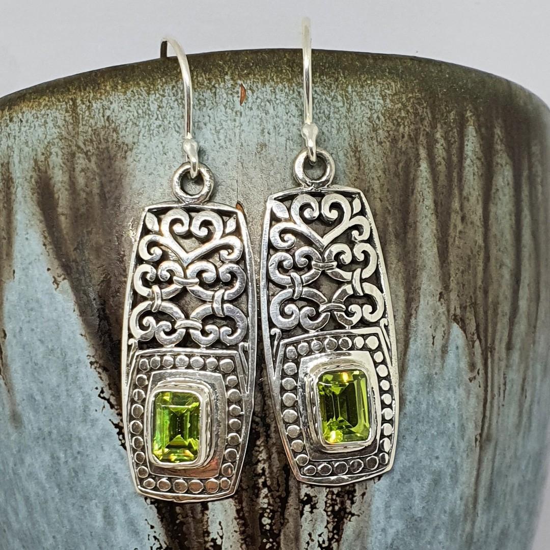 Silver peridot cz earrings in long rectangle filigree image 2