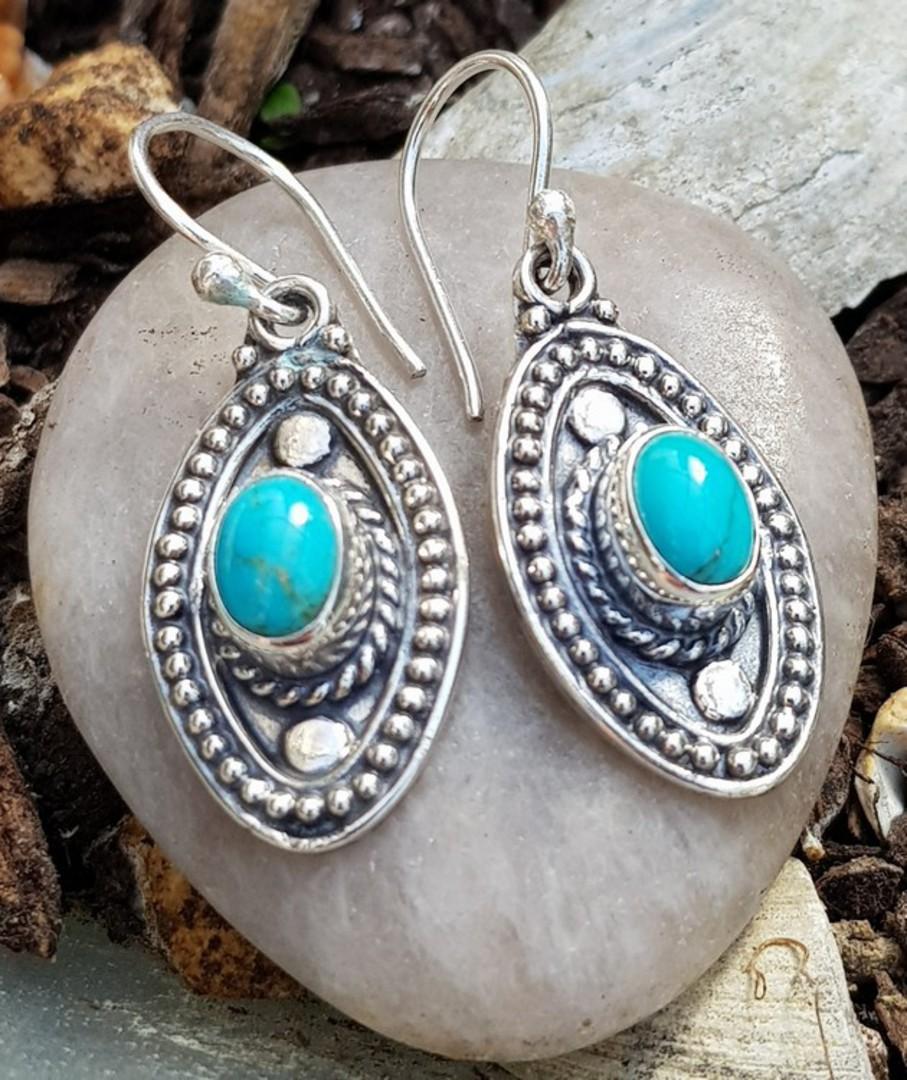 Sterling silver hook turquoise earrings image 2