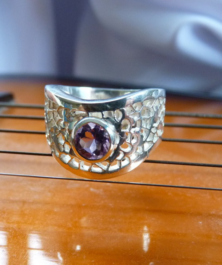 Chunky sterling silver amethyst ring image 1