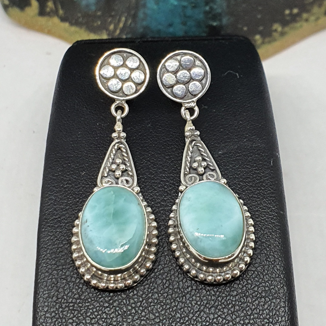 Oval larimar gemstone, long teardrop silver earrings image 2
