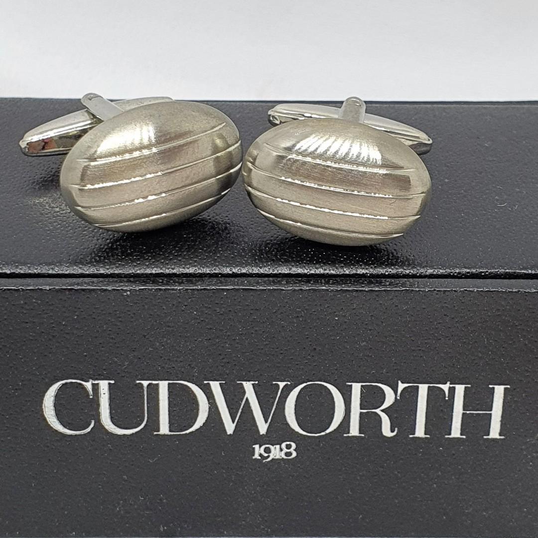 Rhodium plated oval silver tone cufflinks image 2