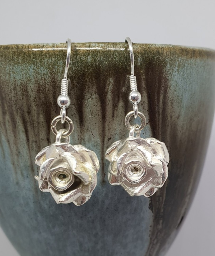Silver rose earrings, romantic and alluring - last pair image 0