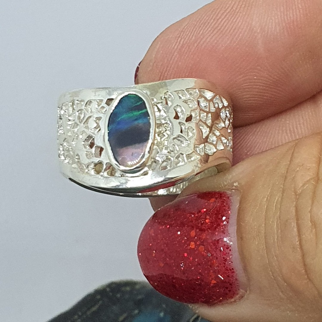 Chunky silver opal ring - made in NZ image 5