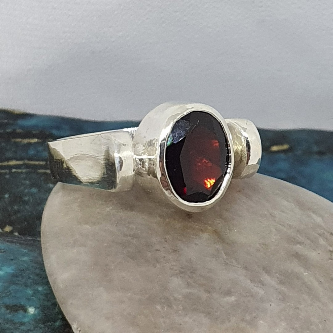 Facet cut garnet ring, sterling silver, made in NZ image 0