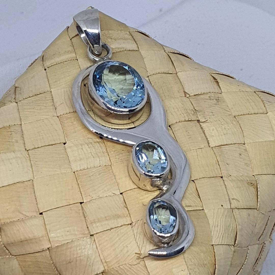 Blue Topaz Silver Pendant image 4