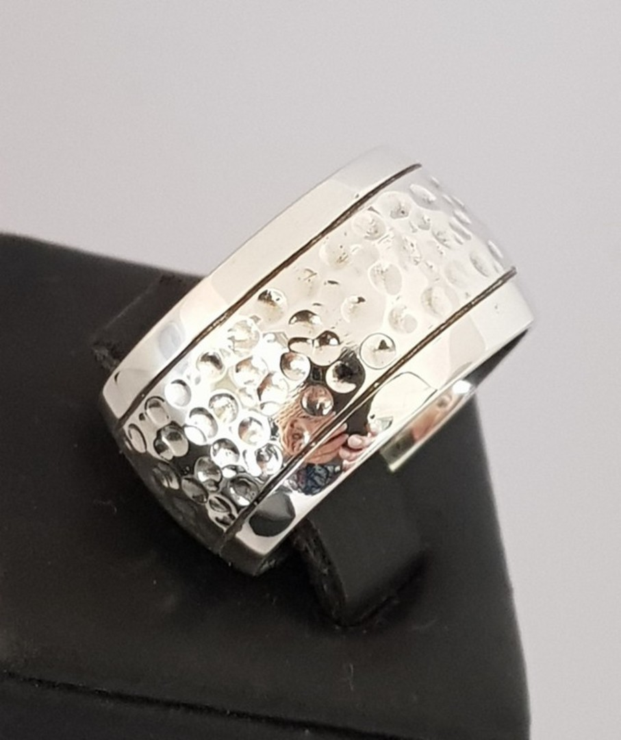 Sterling silver wide band ring  with hammered detail image 1