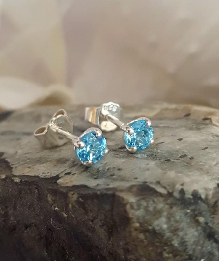Blue topaz stud earrings image 0