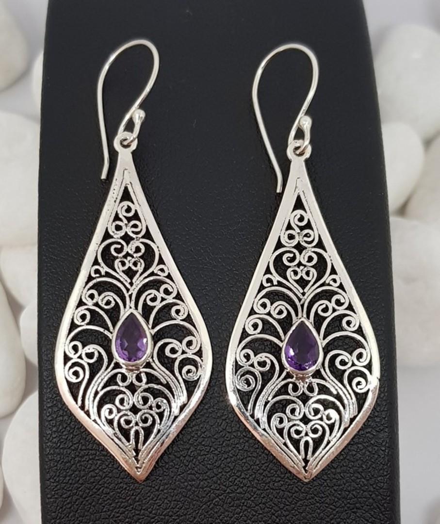 Silver filigree earrings with purple gemstone image 3