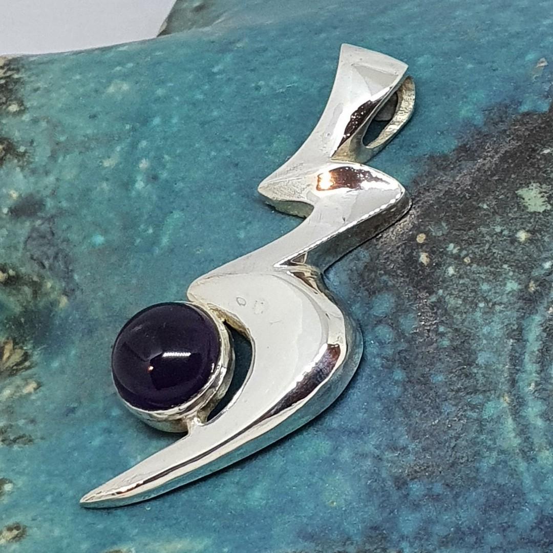 NZ made silver amethyst pendant image 0