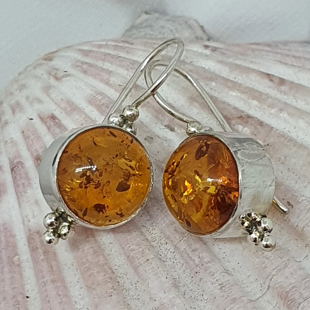 Sterling silver round amber earrings image 1