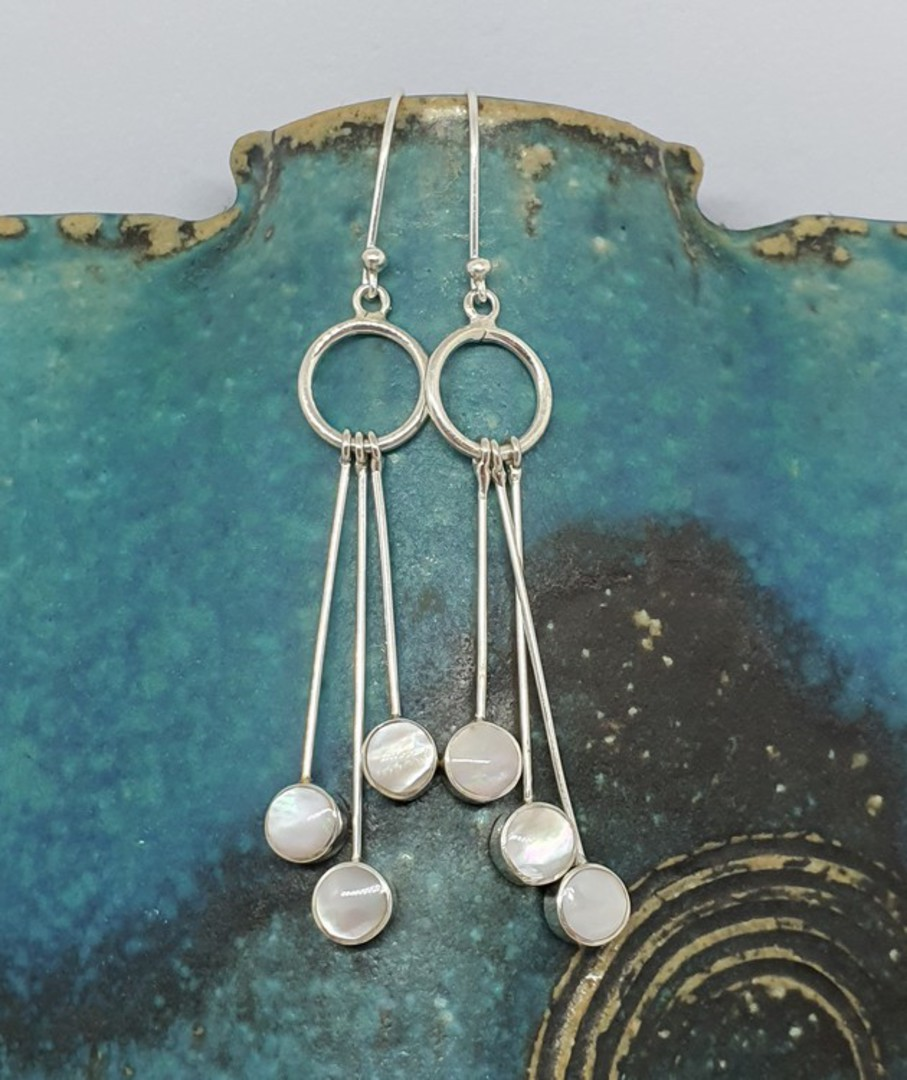 Long mother of pearl silver earrings image 1