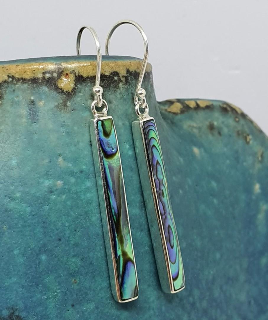 Sterling silver narrow paua shell hook earrings image 1