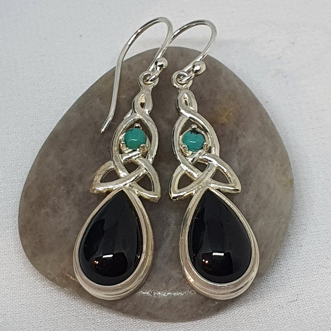 Silver onyx earrings with infinity knot and turquoise gemstone image 1