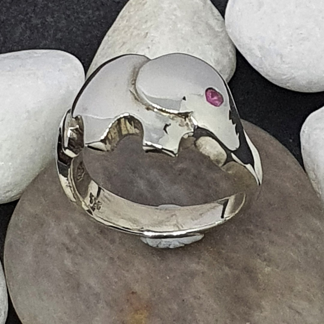 Sterling silver elephant ring with pink sapphire image 1