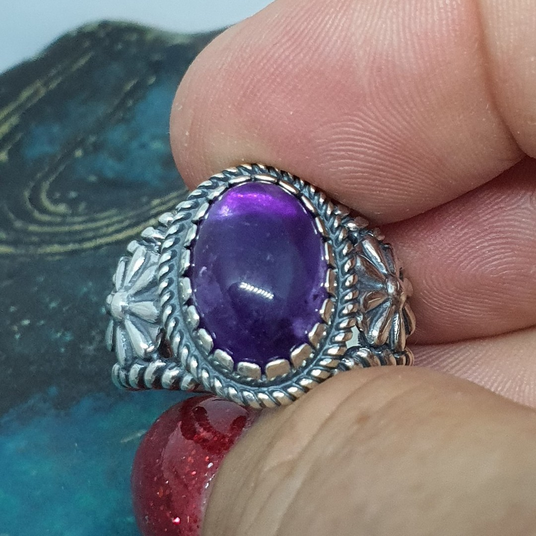 Sterling silver natural amethyst flower ring image 2