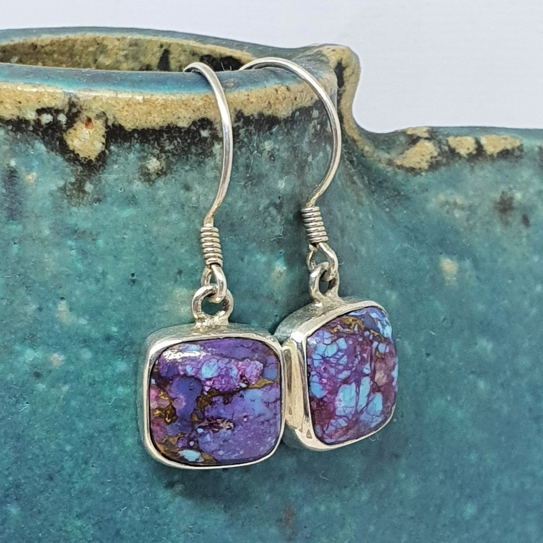 Sterling silver purple mohave turquoise earrings image 0