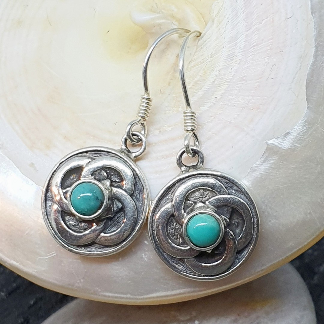 Silver turquoise round flower earrings image 1