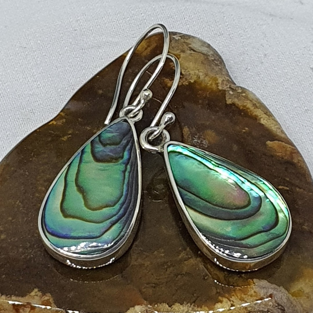 Large teardrop paua shell hook earrings image 1