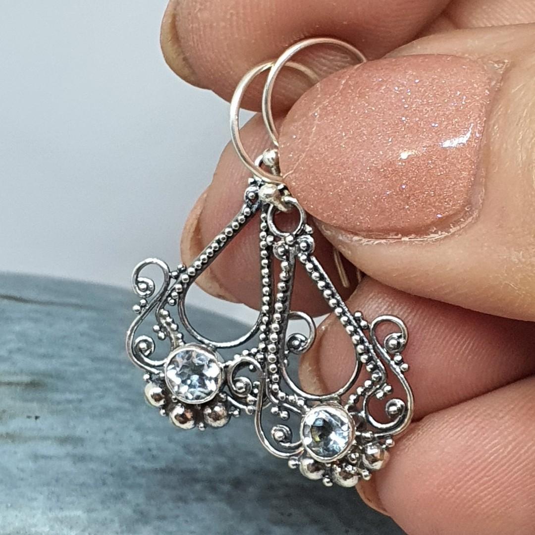 Sterling silver filigree blue topaz earrings image 1