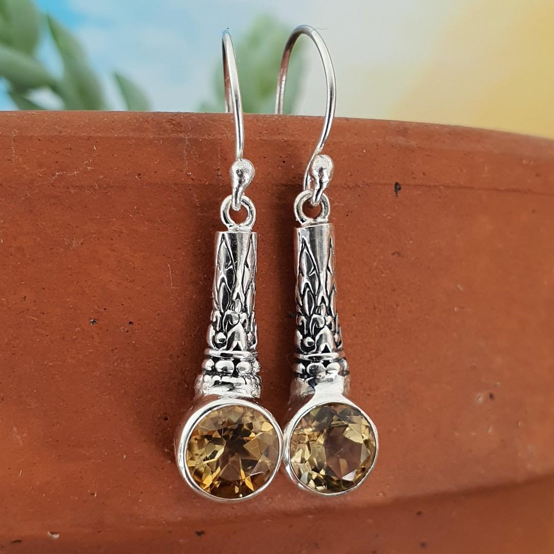 Sterling silver citrine earrings image 1