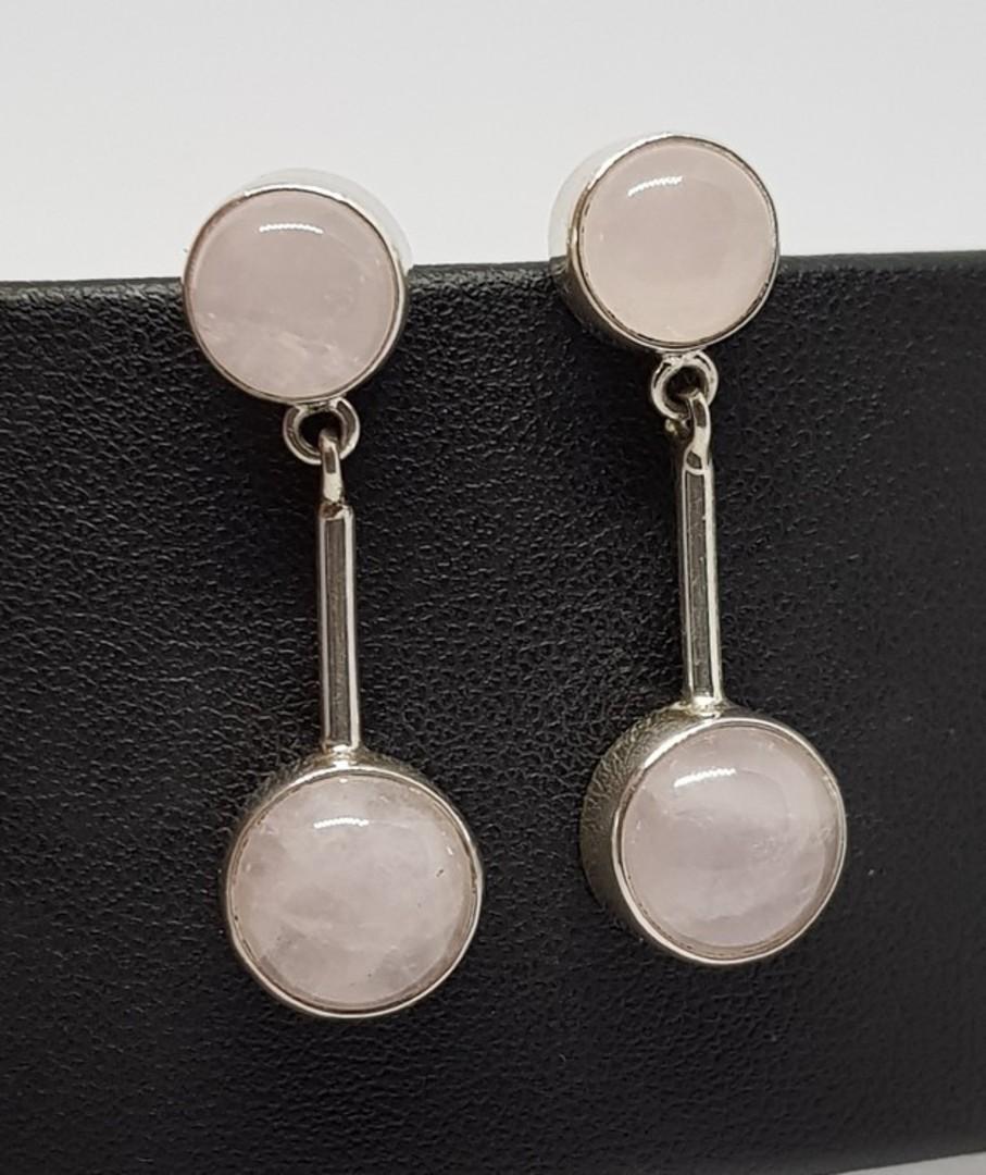 Sterling silver rose quartz long stem earrings image 0