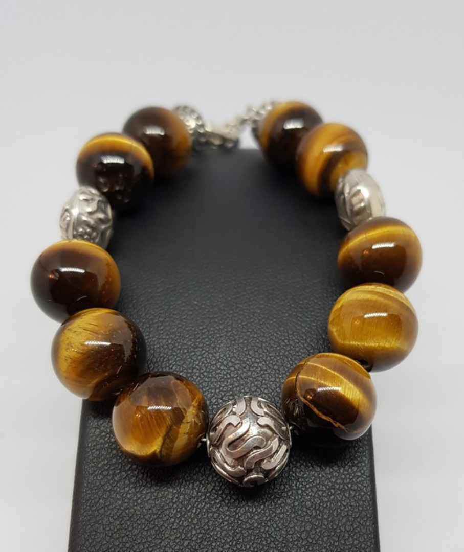 Tigers eye and Balinese silver beaded bracelet image 1