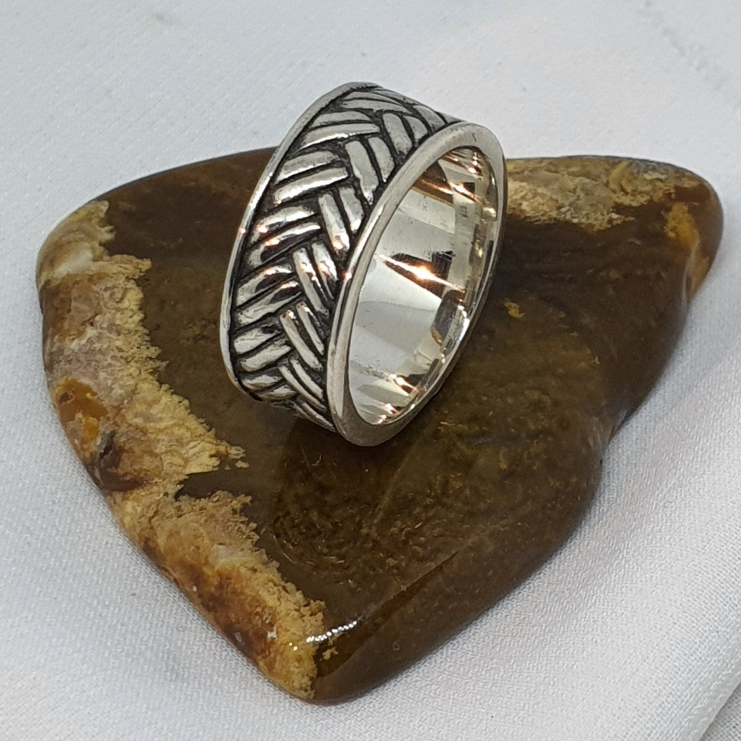 Sterling silver wide band ring with basket weave pattern image 0