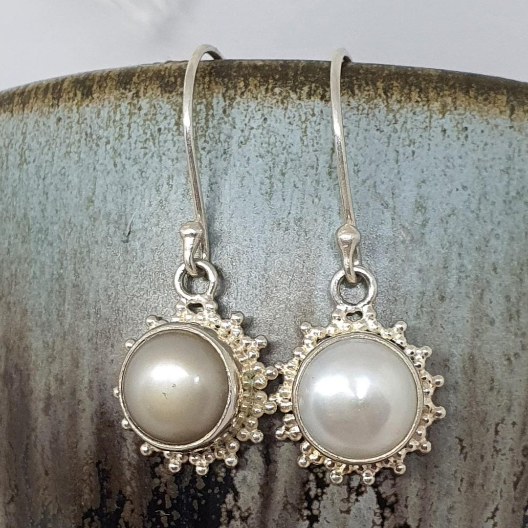 Silver fresh water pearl hook earrings - seconds image 0
