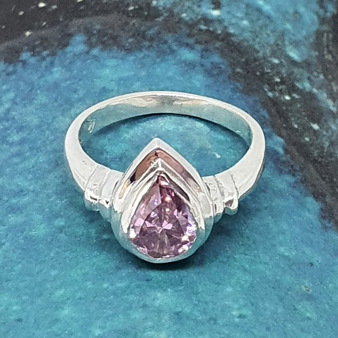 Silver ring with pink sparkling stone image 3
