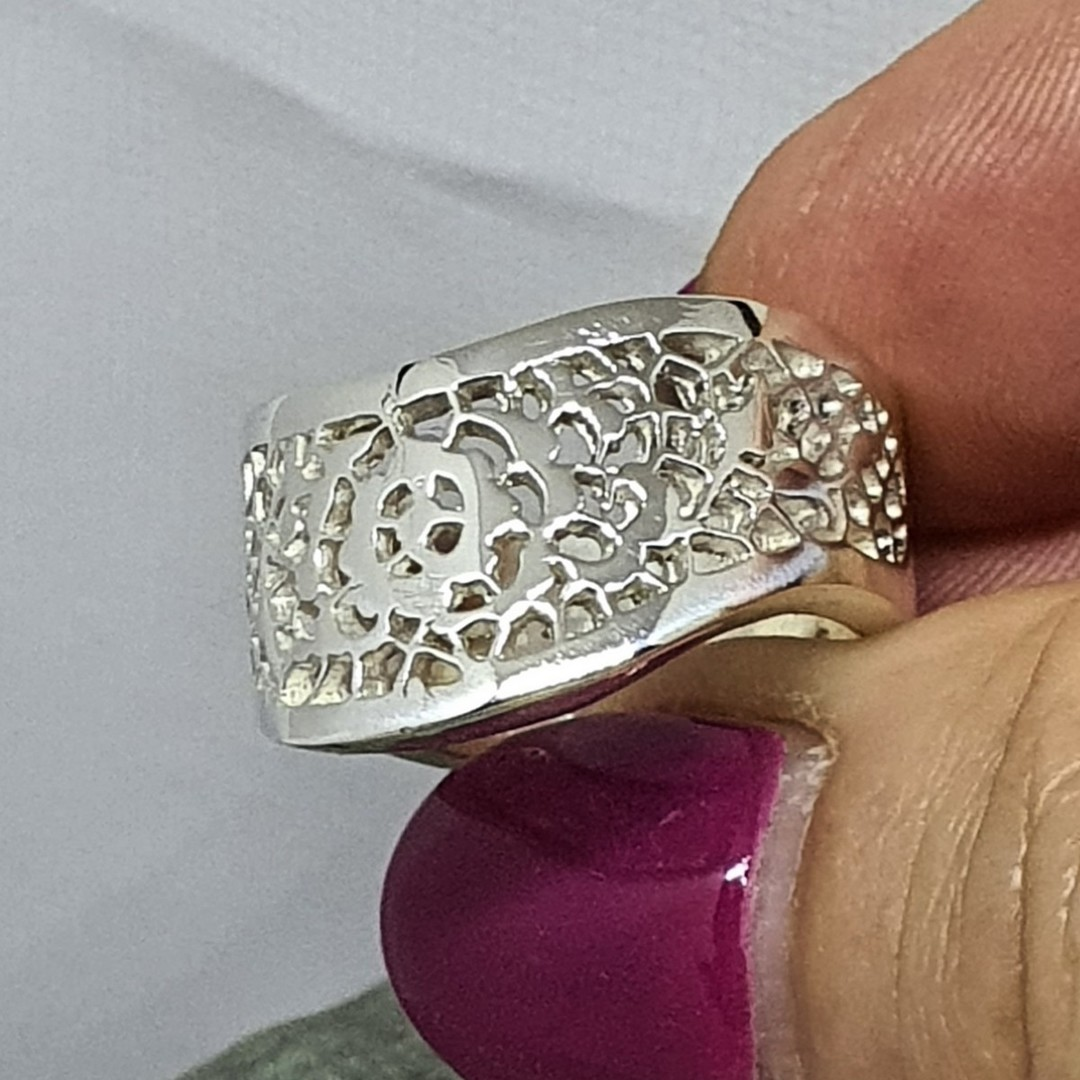 Chunky lace silver ring, made in NZ image 0