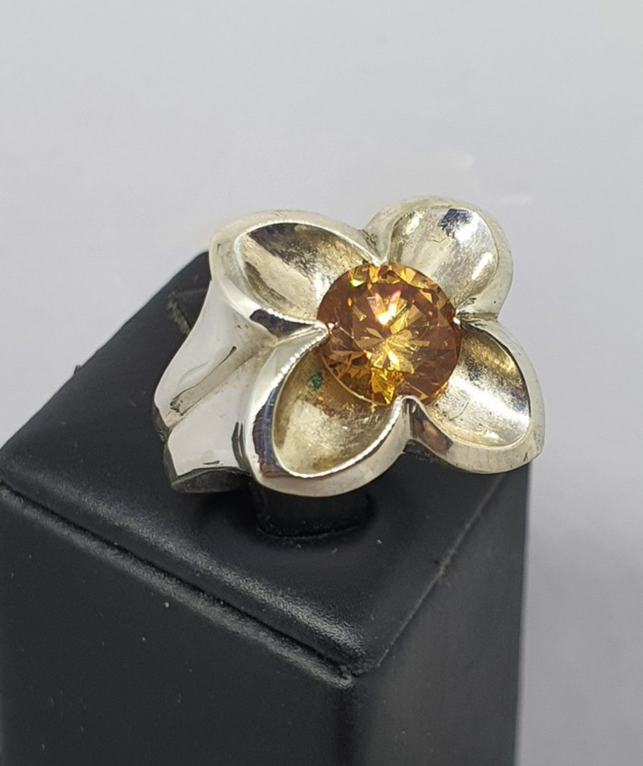 Sterling silver flower ring with golden gemstone image 0