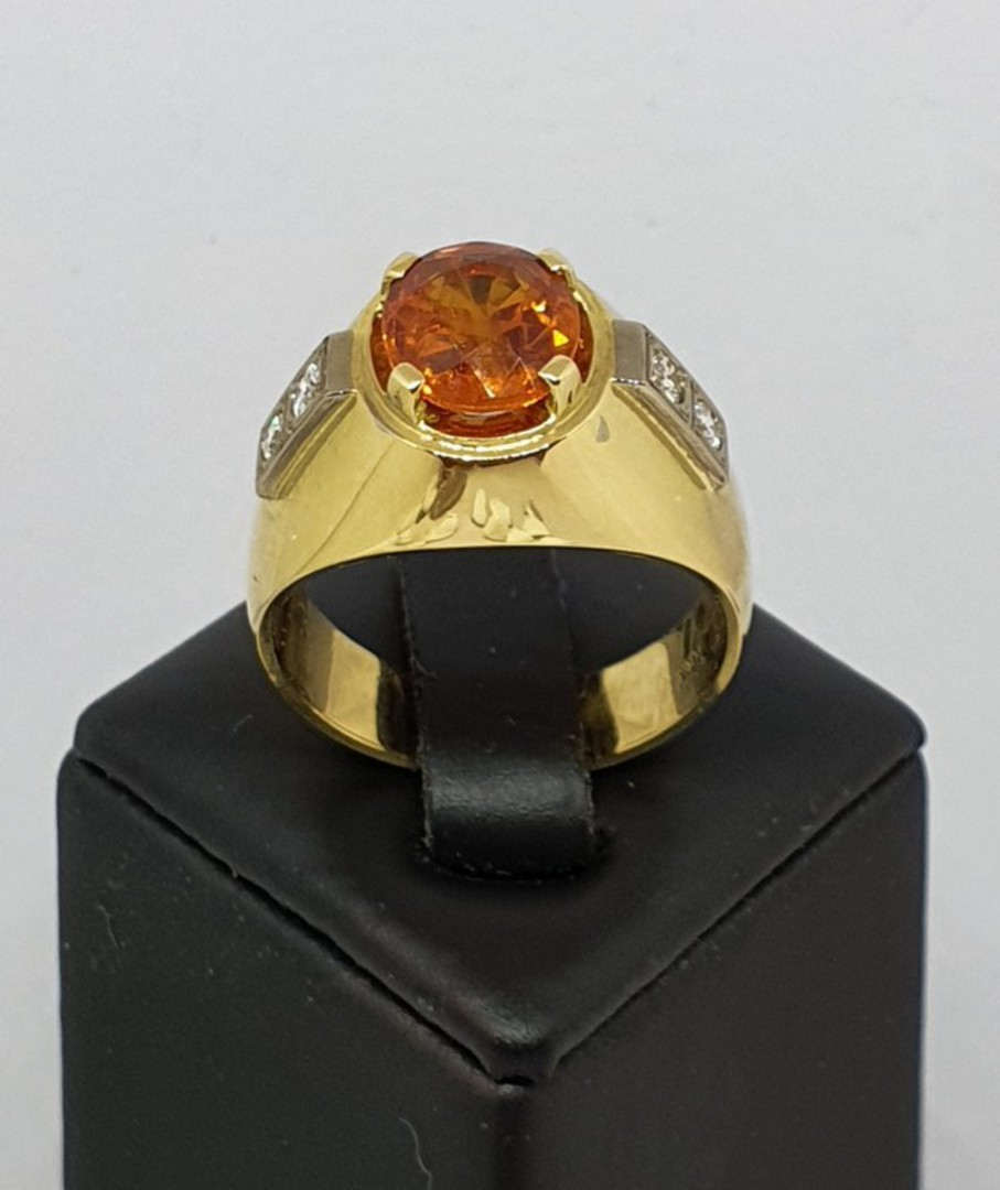 18ct yellow gold modern sapphire and diamond ring image 0