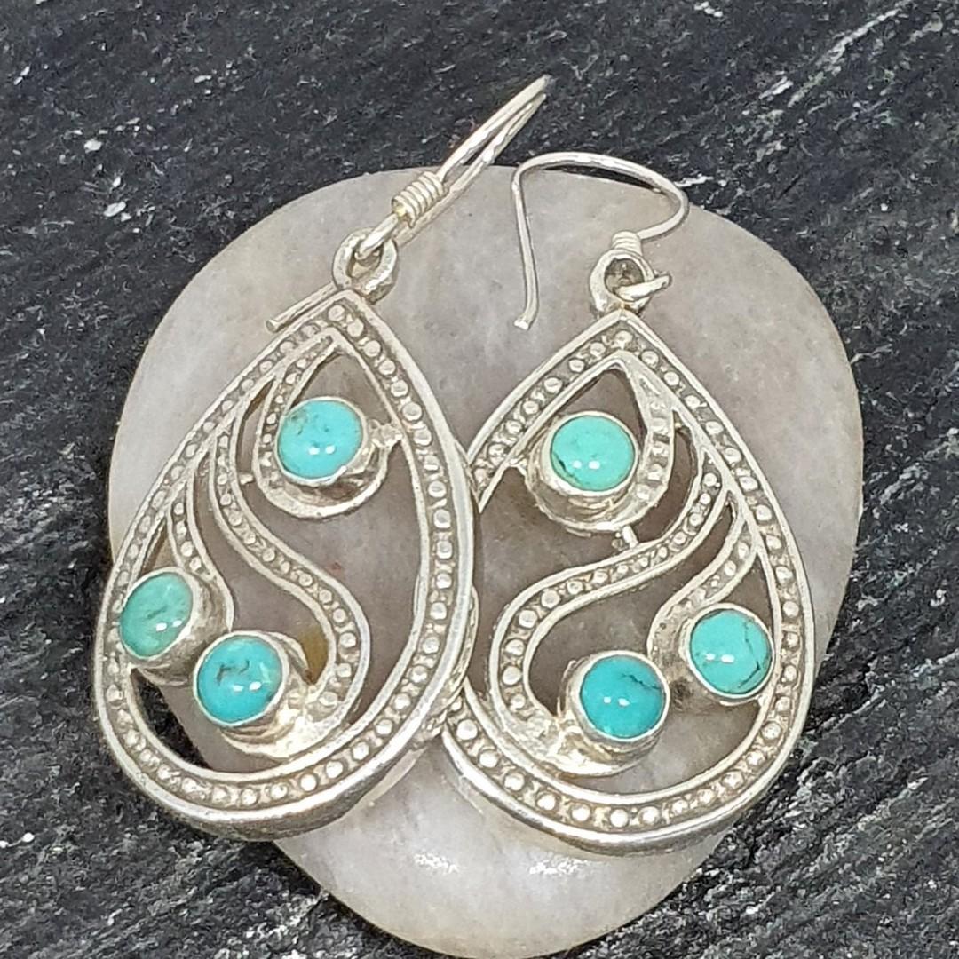 Sterling silver turquoise teardrop earrings image 2