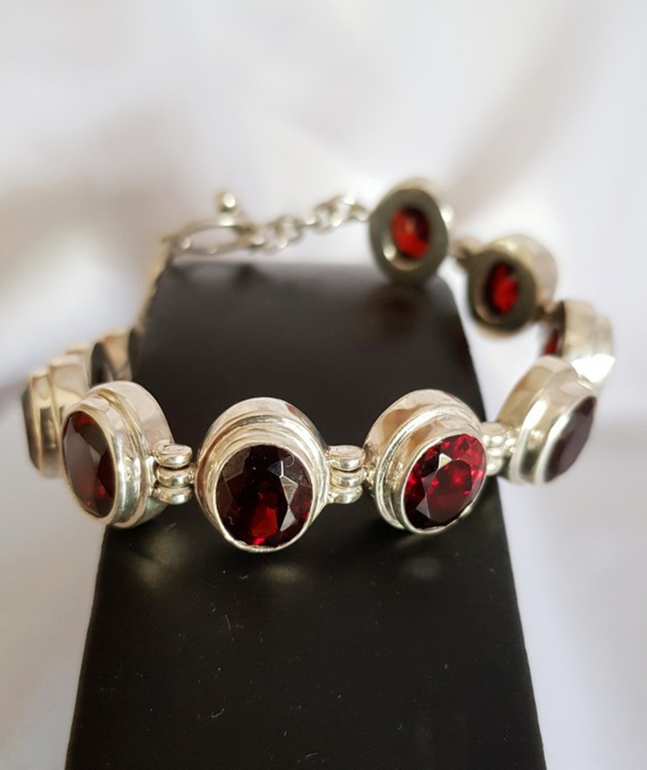 Gorgeous Sterling Silver Garnet Bracelet - now on sale image 0