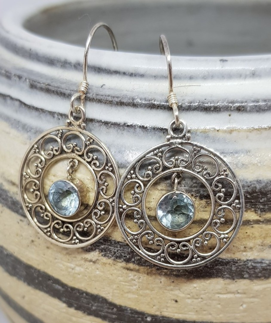 Sterling silver delicate blue topaz earrings image 0