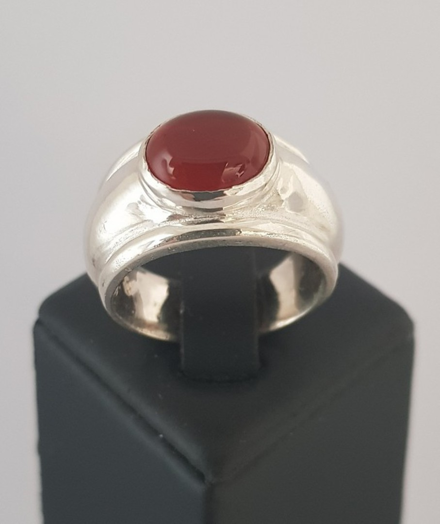 Sterling silver wide band ring with carnelian gemstone image 1
